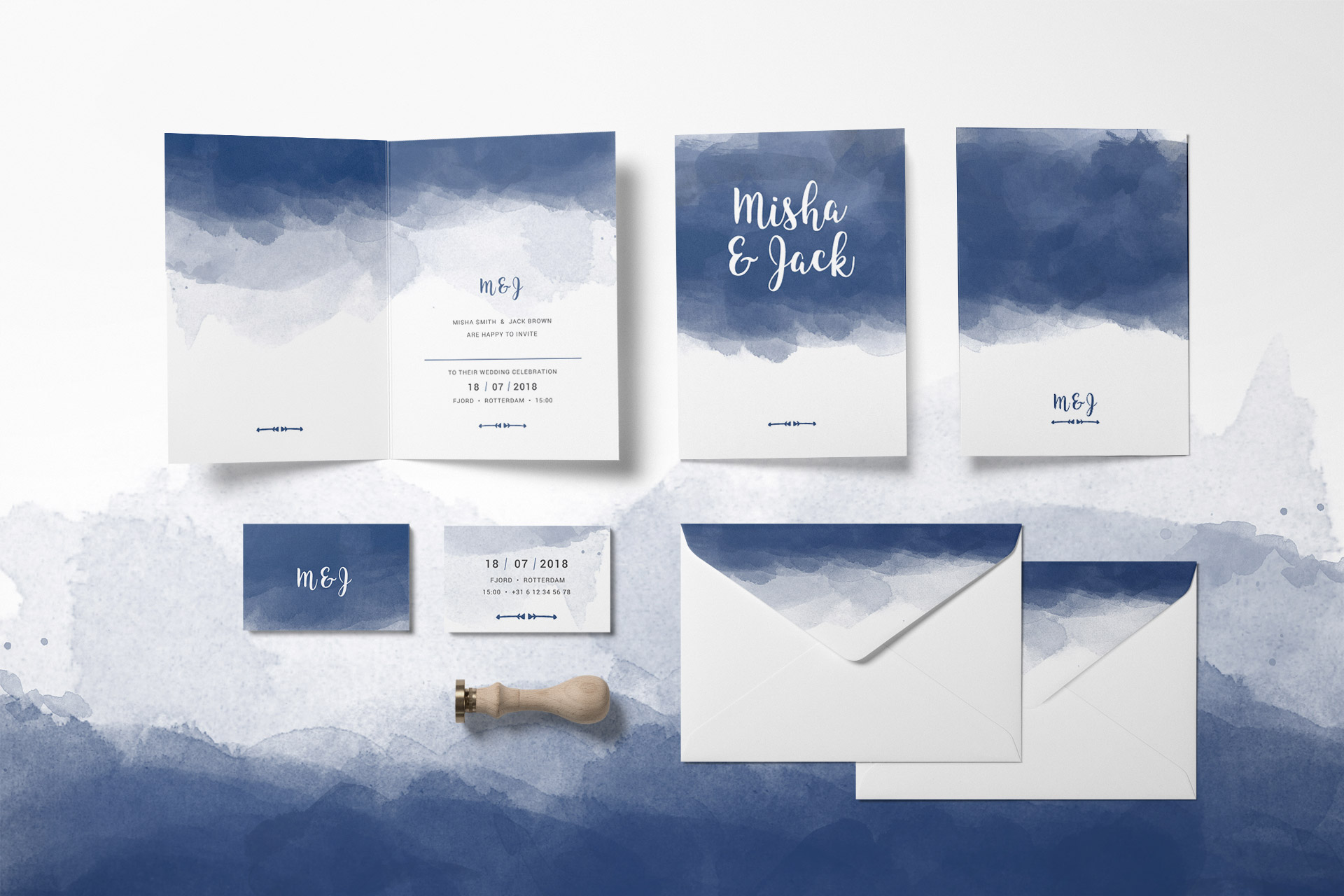 Wedding identity design, weddind invitation, envelope & matching elements
