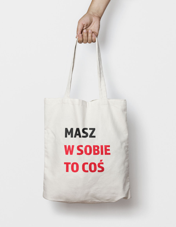slogan na bawełnianej torbie